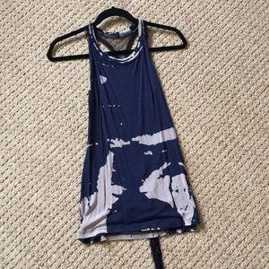 Open back tank in blue tie dye
